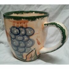 Used Alco Industries Ceramic Coffee Mug Tea Cup Grapes Fruit Leaves Rare China