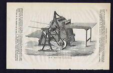 Farm Machinery: Grandveau Threshing Machine - 1866 Wood Engraving