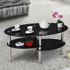 Oval Glass Side Coffee Table Chrome Bars with Shelf Living Room Furniture Black