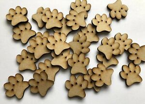 Wooden MDF Paw Prints Craft Shapes Dog Cat Paws Embellishments Pawprint