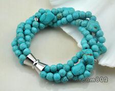 "4strands 8"" Round Baroque turquoise bracelet"
