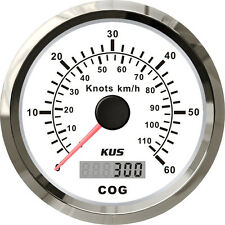 85mm White GPS speedometer 0-60knots for marine boat CMSB-WS-60L (SV-KY08103)