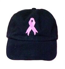 Pink Ribbon Baseball Hat Breast Cancer Awareness Black Embroidered Low Crown Cap