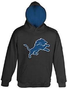 Detroit Lions Youth Boys Primary Logo Pullover Hoody Sweatshirt - Black