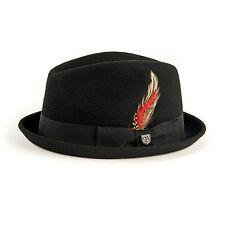 Brixton Ltd. Gain Hat Black Felt Red Feather Large Street/Casual/Headwear