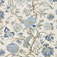 SCALAMANDRE PONDICHERRY JACOBEAN LINEN TOILE FABRIC 5 YARDS DELFT BLUE MULTI