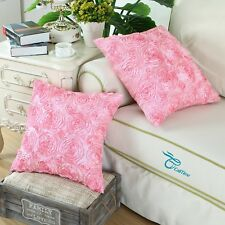 2 Pack Cushion Covers Cases Shells for Couch Sofa Home Roses Floral 20X20 Pink
