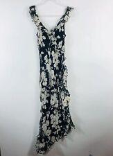 Lauren Ralph Lauren Size 8 Black Ivory Floral Silk Dress Sleeveless Ruffle