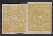 ECUADOR, 1865. Coat of Arms 2 yellow Trial Color Pair