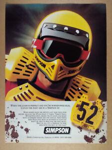 1983 Simpson 52 Motocross Motorcycle yellow helmet color photo vintage print Ad