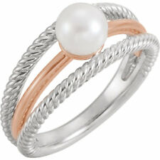 Freshwater Cultured Negative Space Rope Pearl Ring In 14K White & Rose Gold