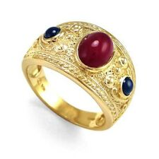 Men's 14k Solid Yellow Gold Ruby & Sapphire Ring #R220