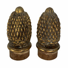 """Pair of Large Wood Carved Pineapple Finials Newel Post Architectural Tops 9"""""""