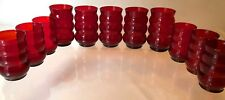 Vintage (1950s-1960s) RUBY RED~11pc~RIBBED FLAT~BEVERAGE SET~TUMBLER~GLASSES