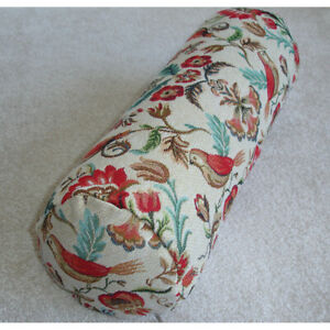 """Bolster Cover Only 18""""x8"""" Birds Cylinder Cushion Tapestry Flowers Red Duck Egg"""