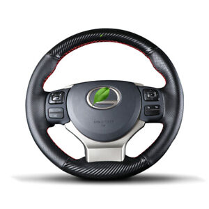 Custom PU Leather Carbon Fiber Steering Wheel on Cover Fit For Lexus Vehicle