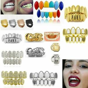 Tooth Hip Hop Grills Teeth Cap 24K Plated Top Bottom Grill Punk Bling UK 2021