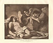 """1890 ANTIQUE PRINT-ART-""""ANGELS WEEPING OVER THE DEAD CHRIST"""" BY GUERCINO"""