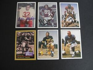 LOT of 6 Vintage Autographed  NFL  FB Cards