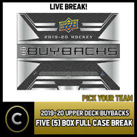 2019-20 UPPER DECK BUYBACKS HOCKEY 5 BOX FULL CASE BREAK #H779 - PICK YOUR TEAM