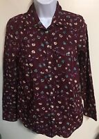 SONOMA BURGUNDY FLORAL LONG SLEEVE BUTTON DOWN SHIRT TOP BLOUSE SIZE XS