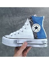CONVERSE All Star Platform White And Jeans Personalizzata