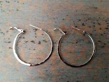 Sterling Silver Hoop Earrings with Clasps 1.25 Inch Diameter