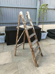 Vintage Step Ladders Wooden Paint Splashed Garden Decor Shop Display Prop Chic