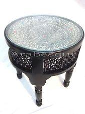 W63 Silver Plated Black Inlaid Art Mosaic Round Arabian Table