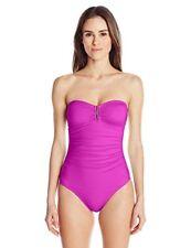 NWT $120 Calvin Klein Purple Tummy Control Bandeau One-piece Swimsuit Women's 10