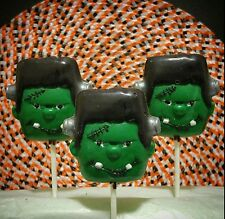 FRANKENSTEIN FACE LOLLIPOP CLEAR PLASTIC CHOCOLATE CANDY MOLD H068