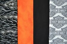 1 yd ea. HARLEY DAVIDSON Logo, Orange, Black Flame & Black Quilt Sew Fabric 4yds
