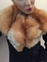 Red Fox Fur Lined brown Collar Shawl warm beautiful vintage VTG !!!