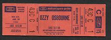 1984 Ozzy Osbourne unused concert ticket Madison Square Garden Bark At The Moon