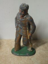 VINTAGE ANTIQUE MANOIL BARCLAY LEAD TOY MILITARY INJURED SOLDIER ON CRUTCHES