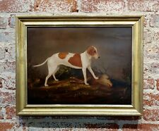 Hunting Dog over a killed Deer -American Folk Art 18th century Oil Painting
