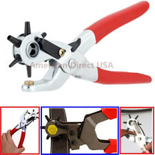 "9"" Heavy Duty Leather Hole Punch Hand Pliers Belt Holes 6 Sized Punches Tool New"