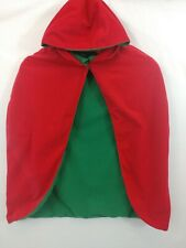 Cape Reversible Red Green Hooded Child Size Pretend Play Dress Up