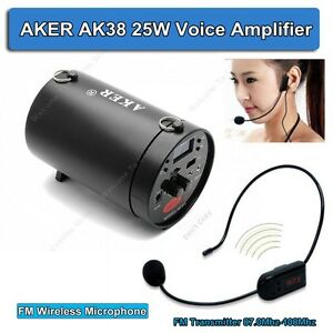 AKER AK38 25W Portable PA Voice Amplifier Booster With FM Wireless Microphone!