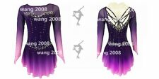 Ice Skating Dress Competition Skating Wear Handmade Fashion purple dyeing