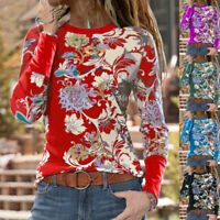 Women Floral Printed Blouse Pullover Casual Loose Tunic Tops Long Sleeve T Shirt