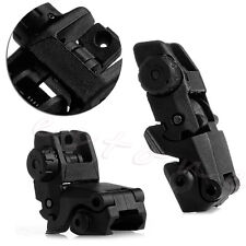 2Pcs Tactical Folding Front & Rear Set Flip Up Backup Sights BUS Black 26