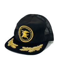 Vintage NRA Trucker Mesh Gold Leaf Patch Black Trucker Farmer Hat Cap USA Made