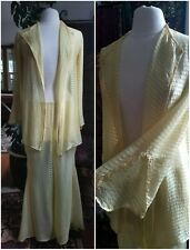 19a0fb09242 Pale Yellow 1930 s Vintage Silk Chiffon Lounging Outfit Pajamas Pants Jacket