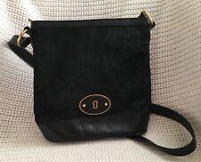 FOSSIL Pony Hair VRI Black Leather Crossbody Bucket Bag Purse-NEW missing key