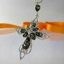 A-347 triquetra Celtic Celtica Bernstein cruz colgante 925 plata joyas verde