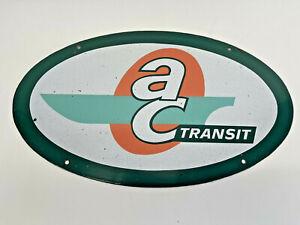 1960'S Vintage AC TRANSIT PORCELAIN FRONT BUS SIGN ALAMEDA OAKLAND ADVERTISING