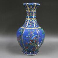 Chinese ancient antique hand make Flower and Bird Hexagonal vase m37