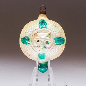 "Antique ""Cat in a Window"" Double-Sided Blown Glass Ornament Germany Green - E"