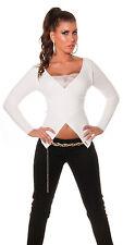 Sexy Wickel Look Pullover Pulli Strick Feinstrick mit Spitze Creme Weiß 34 36 38